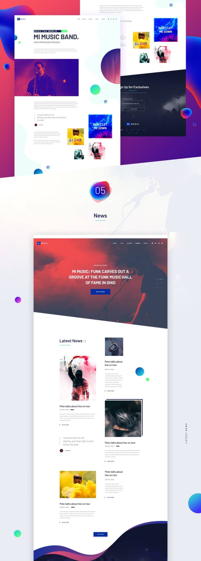MI MUSIC - Free Website Template (.Psd) скачать бесплатно