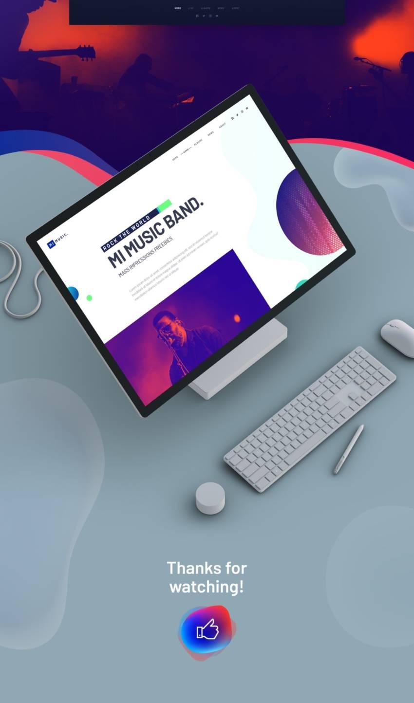 MI MUSIC - Free Website Template (.Psd) скачать бесплатно