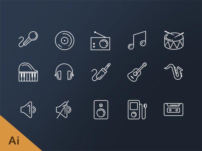 Music Line иконки (.Ai) скачать бесплатно