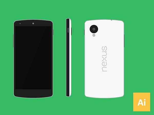 Nexus 5 Mockup (.Ai) скачать бесплатно