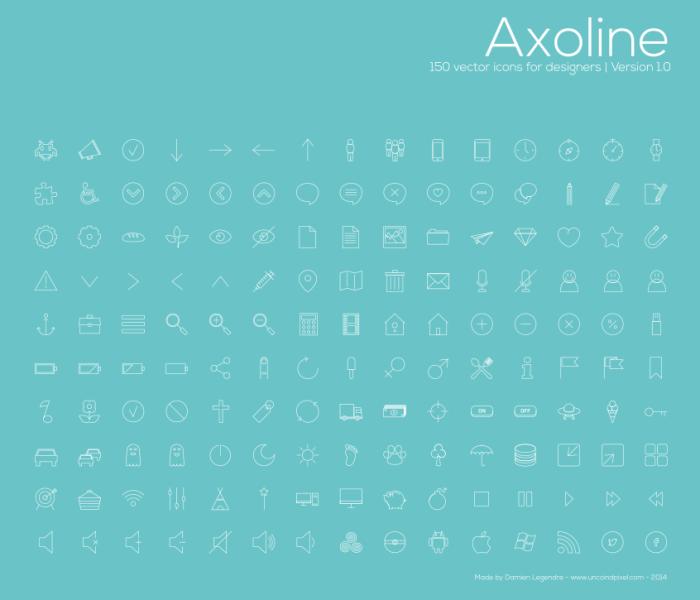 Axoline 150 иконок (.Ai) скачать бесплатно