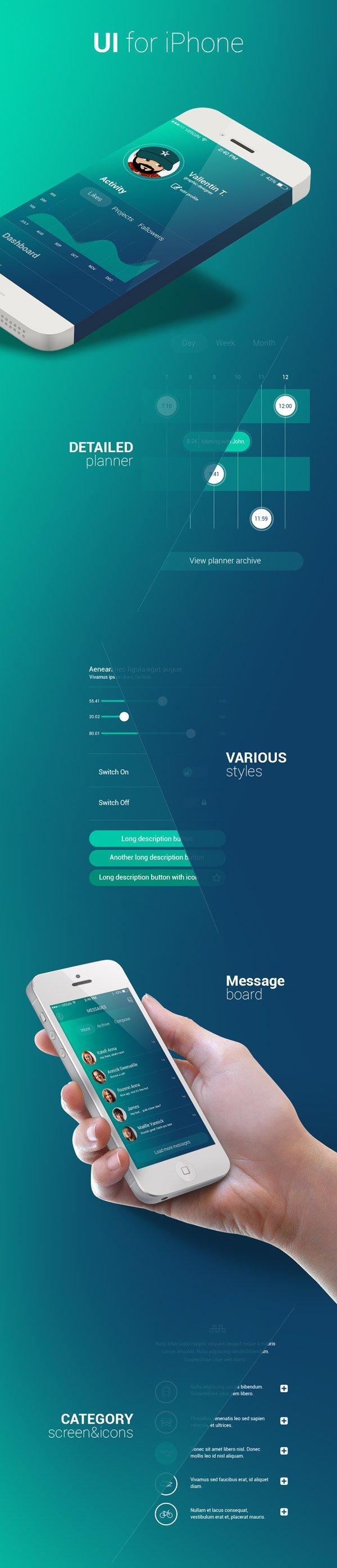 Blue App Design for iOS (.Psd) скачать бесплатно