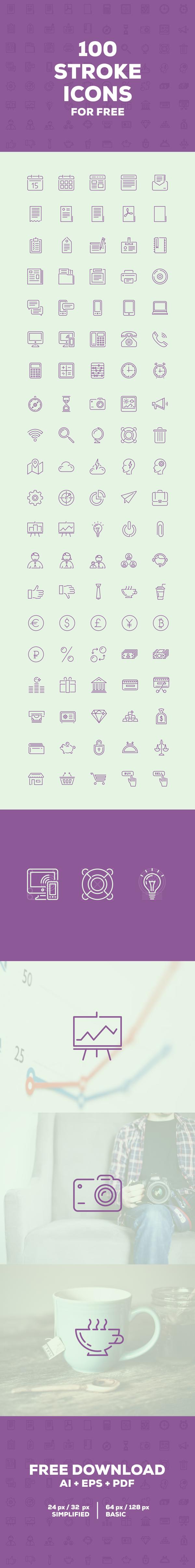 100 Stroke Icons (.Ai + .Eps) скачать бесплатно