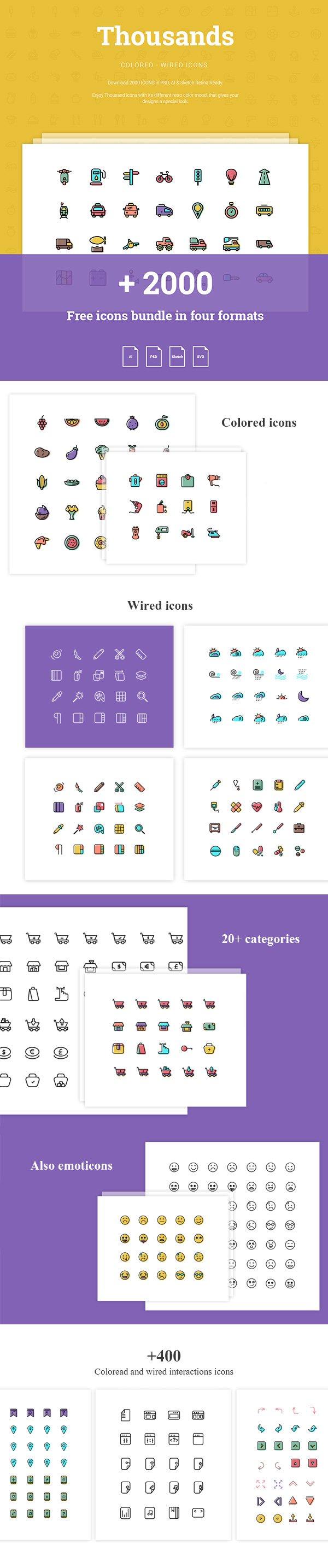 + 2000 иконок (.Ai + .Psd + .Sketch + .Svg) скачать бесплатно