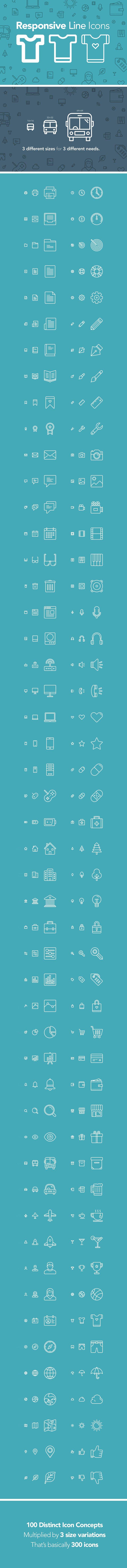 100 Responsive Line Icons (.AI + .Psd + .Eps + .Svg) скачать бесплатно