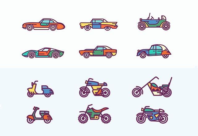 Retro vehicles (.Ai) скачать бесплатно