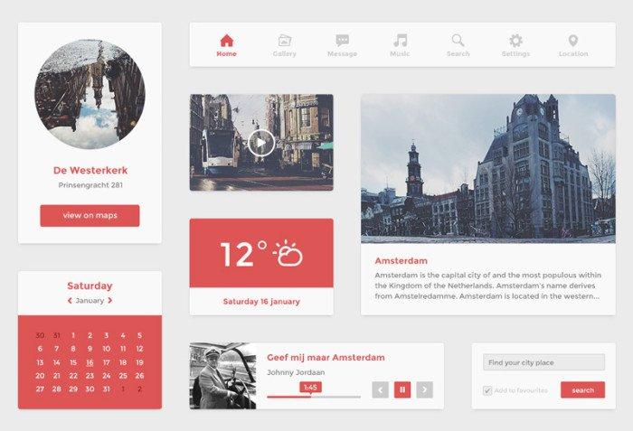 Amsterdam UI kit (.Psd) скачать бесплатно