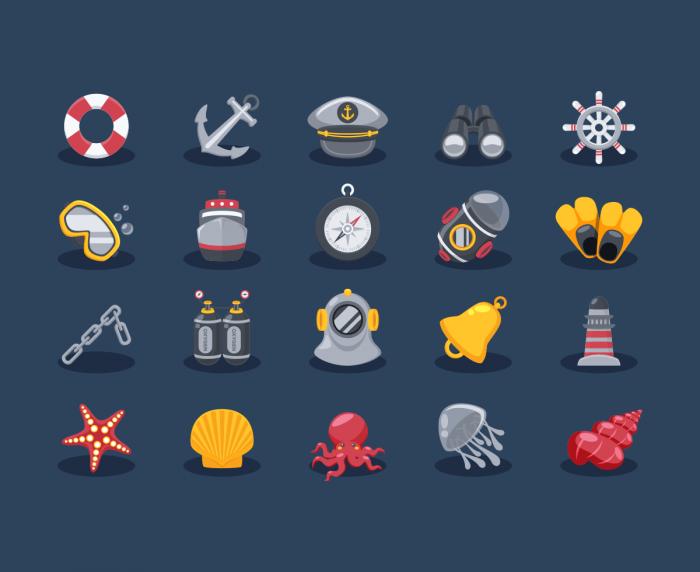 Иконки Sea Elements (.Ai + .Eps) скачать бесплатно