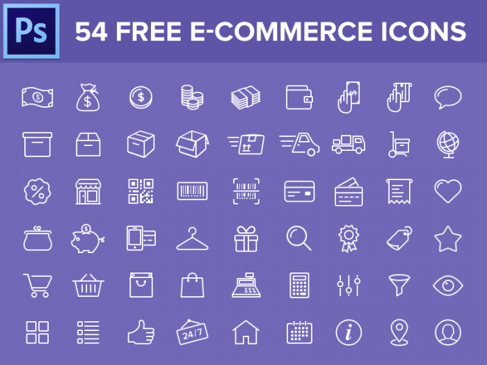 54 иконки для интернет-магазина (.Psd) скачать бесплатно