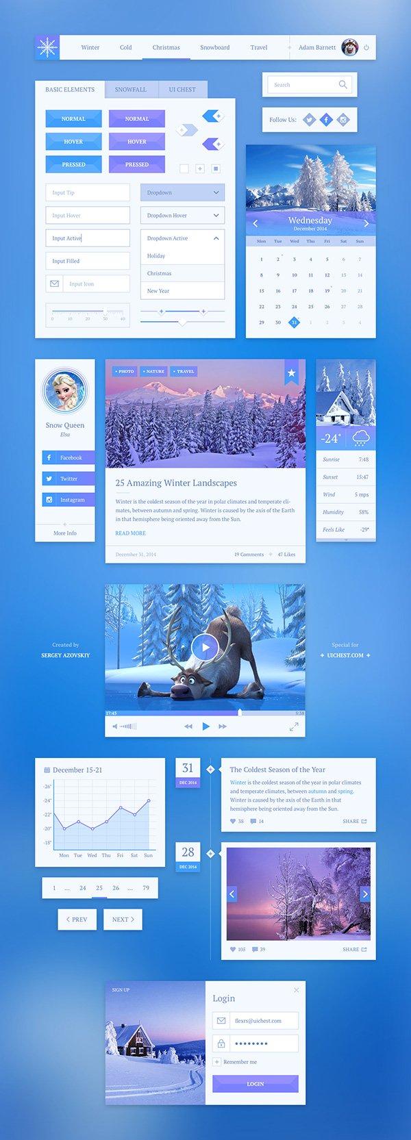 Snowflake UI Kit (.Psd) скачать бесплатно