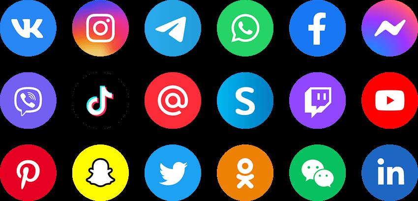 Иконки социальных сетей и мессенджеров (.Ai + .Psd + .Png) скачать бесплатно