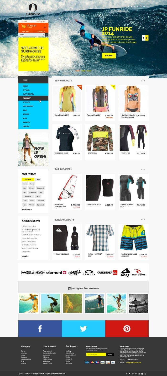 Surfhouse шаблон сайта (.Psd) скачать бесплатно
