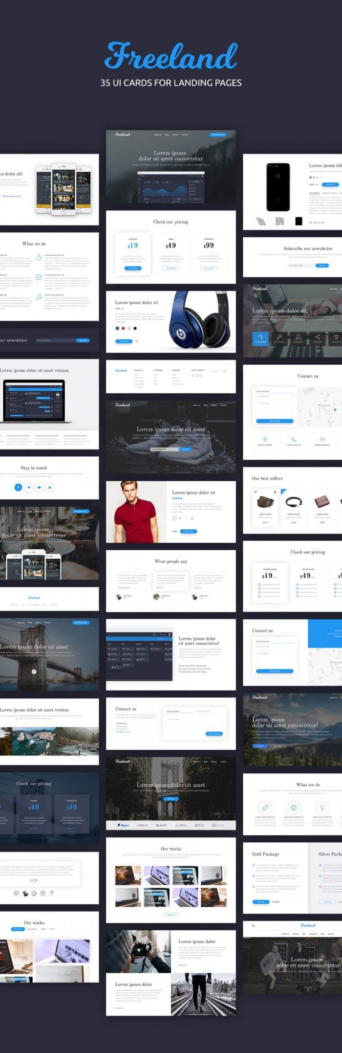 Freeland 35 Landing Pages UI Kit (.Psd) скачать бесплатно