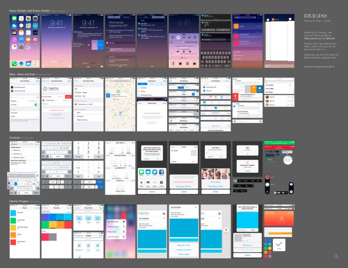 iOS 9 GUI kit (.Psd) скачать бесплатно