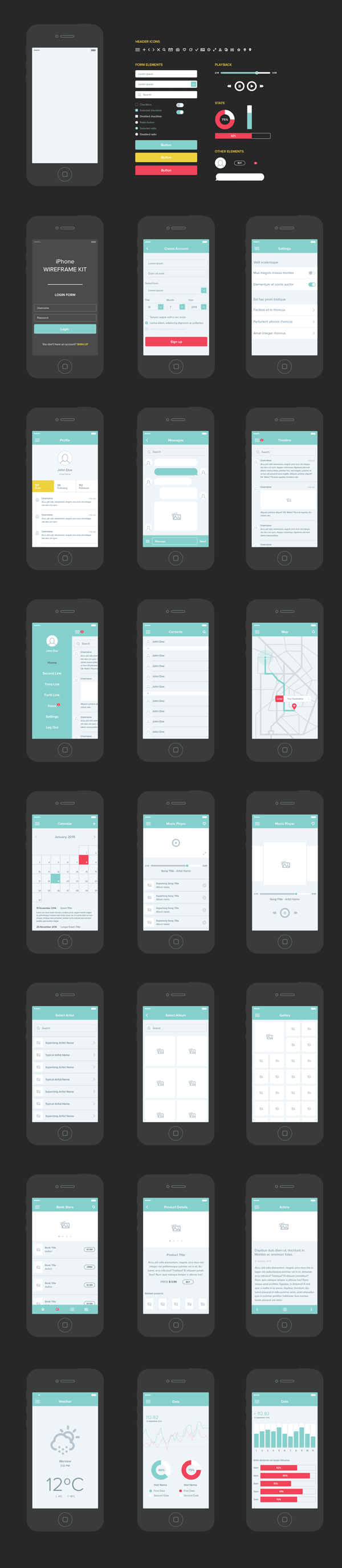 Wireframe iPhone Kit (.Ai) скачать бесплатно